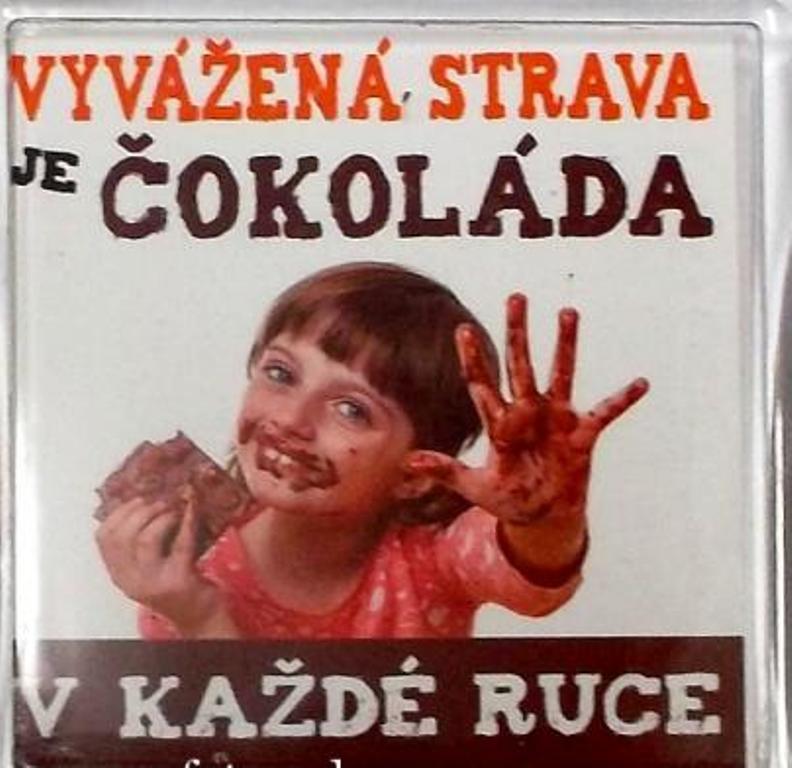 Nekupto Veselé magnetky 007 Vyvážená strava je čokoláda v každé ruce 6 x 6 cm