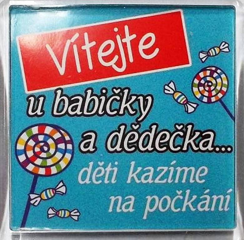 Nekupto Veselé magnetky 012 Vítejte u babičky a dědečka... děti kazíme na počkání 6 x 6 cm