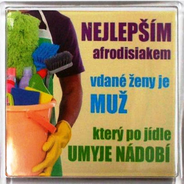Nekupto Veselé magnetky 030 Nejlepším Afrodiziakem vdané ženy je muž který po jídle umyje nádobí 6 x 6 cm