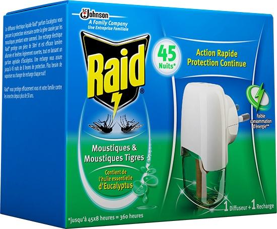 Fotografie Raid elektrický odpařovač s eukalyptovým olejem proti komárům 45 nocí strojek + náplň 27 ml