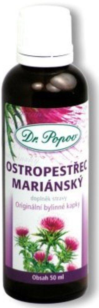 Fotografie Dr.Popov Ostropestřec mariánský originální bylinné kapky udržuje normální trávení 50 ml