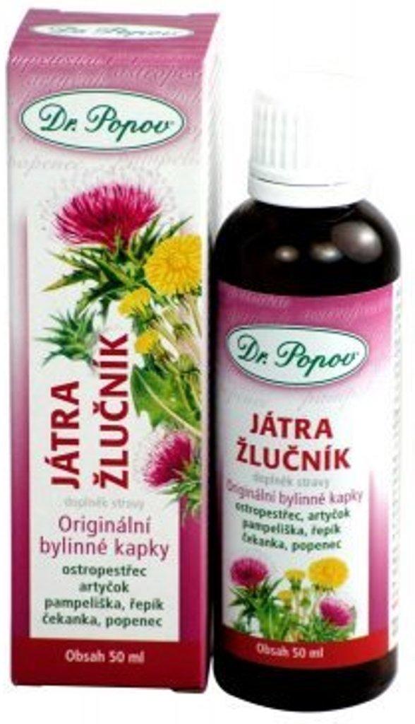 Fotografie Dr.Popov Játra & žlučník originální bylinné kapky 50 ml