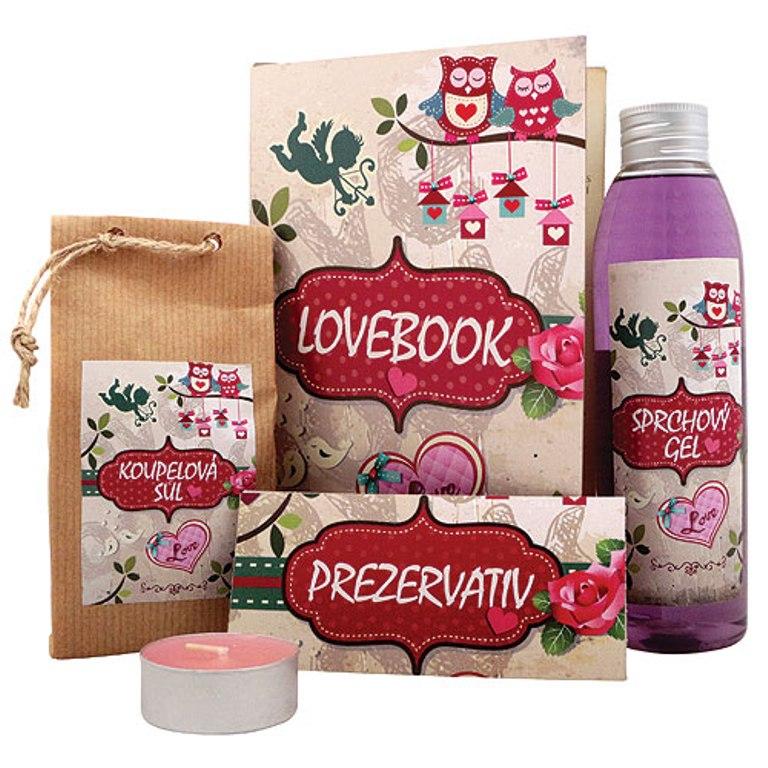 Bohemia Lovebook sprchový gel 200 ml + koupelová sůl 150 g + prezervativ + svíčka