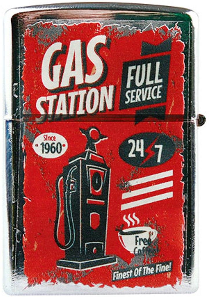 Mediabox Dárkový Benzínový kovový zapalovač - Gas Station červený BZ2