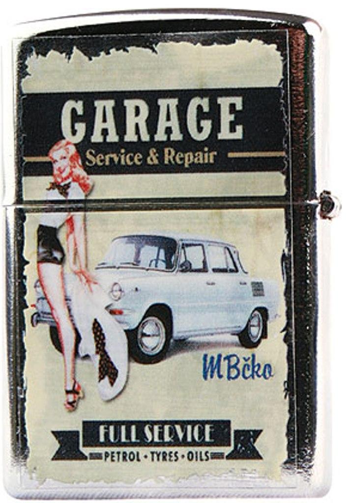 Bohemia Retro zapalovač kovový benzínový s potiskem Garage 5,5 x 3,5 x 1,2 cm