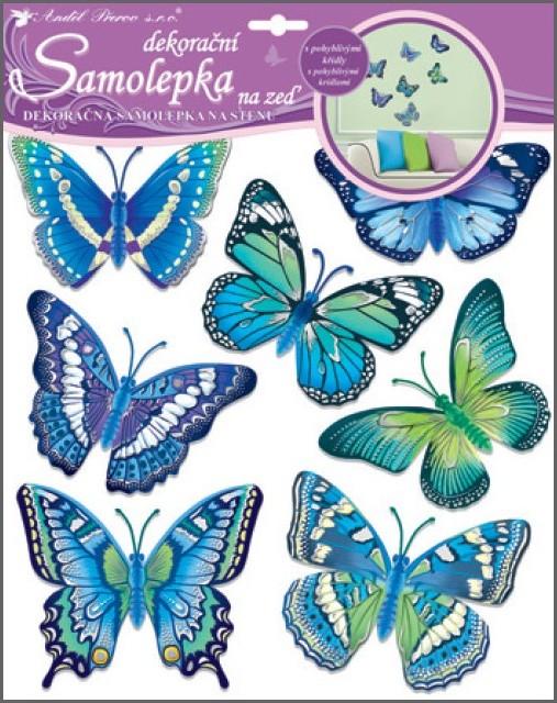 Room Decor Samolepky na zeď motýli modří 38 x 31 cm
