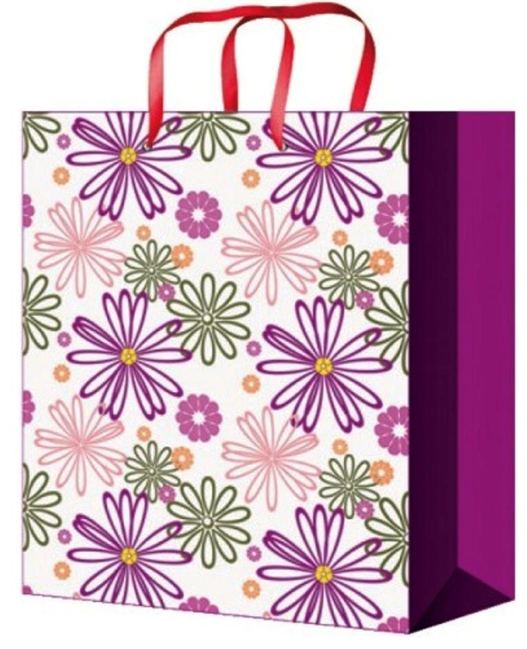 Taška celoroční dárková zelená s květy M 23x18x10cm