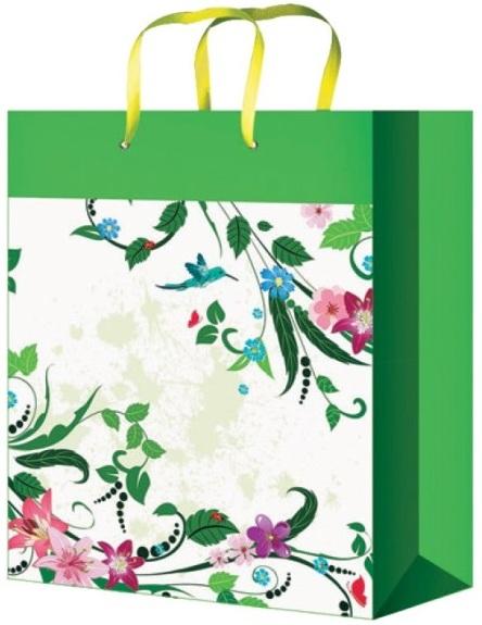 Taška dárková celoroční L fialová s levandulí 32 x 26 x 12,7 cm