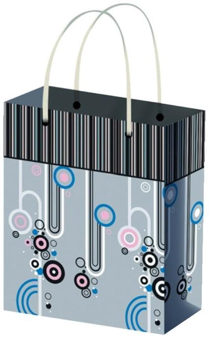 Fotografie Taška dárková celoroční XL pruhy a čtverečky 45,5 x 33 x 10,5 cm