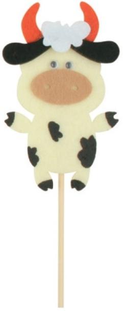 Zápich z filcu kravička 8 cm + špejle