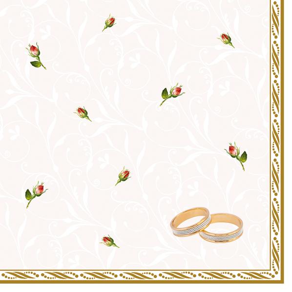 Maki Papírové ubrousky prstýnky a růže 3 vrstvé 33 x 33 cm 20 kusů