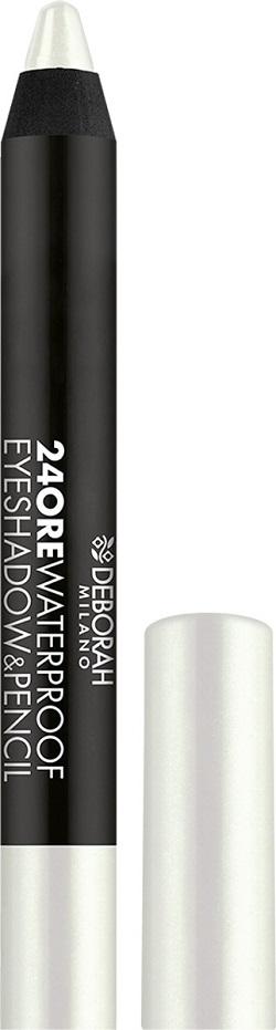 Fotografie Deborah Milano 24Ore Waterproof Eyeshadow & Pencil oční stíny a tužka na oči 2v1 01 Pearly Ivory 2 g