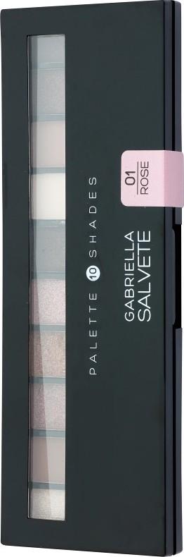 Fotografie Gabriella Salvete Palette 10 Shades paleta očních stínů se zrcátkem a aplikátorem 01 Rose 12 g