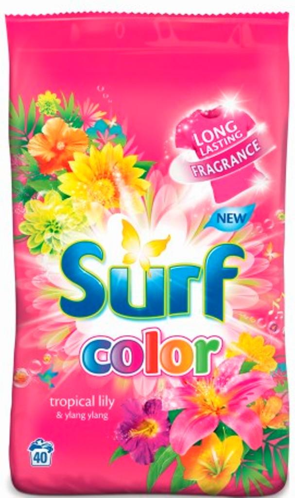 Fotografie Surf Color Tropical Lily & Ylang Ylang prací prášek s aviváži 20 pracích dávek 1,4 kg