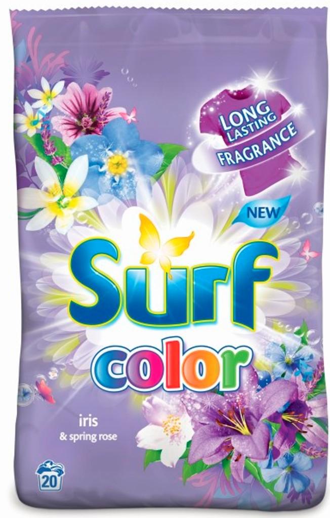 Fotografie Surf Color Iris & Spring Rose prací prášek na barevné prádlo 20 pracích dávek 1,4 kg