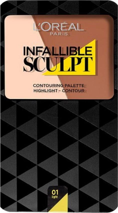 Fotografie L'Oréal Paris Infallible Sculpt paleta na kontury obličeje odstín 01 Light/Medium 10 g