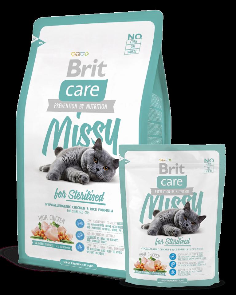 Fotografie Brit Care Missy Sterilised Kuře + rýže pro sterilizované kočky 7 kg, hypoalergenní kompletní krmivo