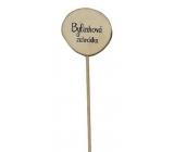 Bohemia Gifts & Cosmetics Dřevěný zápich k bylinkám s potiskem - Bylinková zahrada průměr kolečka je 5 - 8 cm