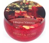 Heart & Home Hřejivé vánoce Sojová vonná svíčka v plechovce hoří až 30 hodin 125 g