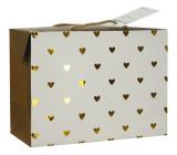 Anděl Taška dárková krabice, uzavíratelná, se zlatými srdíčky 23 x 16 x 11 cm