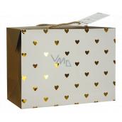 Anděl Dárková papírová taška krabice 23 x 16 x 11 cm uzavíratelná, se zlatými srdíčky