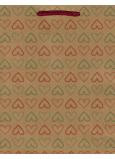 Nekupto Dárková papírová taška střední 24,5 x 19 x 8 cm Srdce 565 KHM