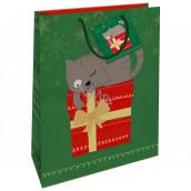 Nekupto Dárková papírová taška 32,5 x 26 x 13 cm Vánoční zelená s kočkou WBL 1954 50