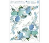 Room Decor Okenní fólie bez lepidla Modré vajíčka rohová 30 x 42 cm