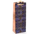 Nekupto Dárková papírová taška na láhev luxusní 12,5 x 32,5 x 8 cm Zlaté vzory 2037 LILH