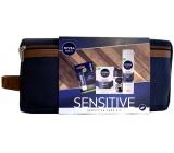 Nivea Men Sensitive balzám po holení 100 ml + gel na holení 200 ml + Black & White Invisible Original antiperspirant roll-on 50 ml + Labello balzám na rty 5,5 ml + etue, kosmetická sada pro muže