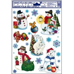Okenní fólie bez lepidla barevná s ledními medvědy a sněhulákem 30 x 20 cm