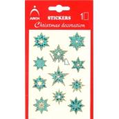 Arch Holografické dekorační samolepky vánoční s glitry 702-SG modro-zlaté 8,5x12,5 cm