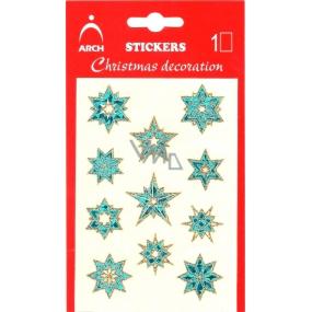 Arch Vánoční holografické samolepky s glitry 702-SG modro-zlaté 8,5x12,5 cm