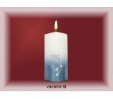 Lima Jubilejní 75 let svíčka bílá zdobená 70 x 150 mm 1 kus