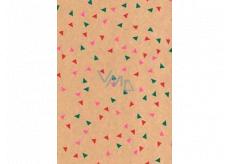 Ditipo Dárkový balicí papír 70 x 200 cm Vánoční KRAFT zelené, růžové a červené trojúhelníky
