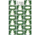 Stromeček zelený vánoční samolepky na dárky 20 etiket 1 arch 823