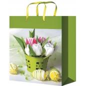 Anděl Taška velikonoční dárková M Tulipány v nádobě 23 x 18 x 10 cm