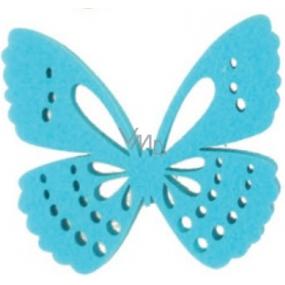 Dekorace motýl z filcu modrý 6 cm