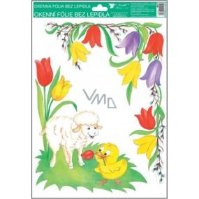 Room Decor Okenní fólie rohová tradiční velikonoční motivy tulipány 37 x 26 cm