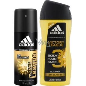 Adidas Victory League deodorant sprej pro muže 150 ml + 3v1 Body Hair Face sprchový gel na tělo, tvář a vlasy pro muže 250 ml, duopack