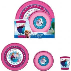 Disney Frozen Jídelní souprava miska 15 x 4 cm + kelímek 200 ml + talíř 23 x 2,5 cm