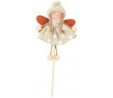 Anděl v puntíkatých šatech krémové 11 cm + špejle