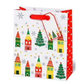BSB Luxusní vánoční dárková papírová taška 36 x 26 x 14 cm Vánoční vesnice VDT 413 - A5