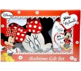 Disney Miss Minnie 2v1 šampon a sprchový gel 300 ml + mycí žína ve tvaru Minnie, kosmetická sada