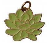 Yankee Candle Charming Scents kovový přívěsek ve tvaru zelené rosliny se zlatým lemováním na visačku do auta Scculent