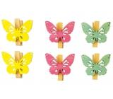 Motýli s kolíčkem dřevění 4 cm, 6 ks