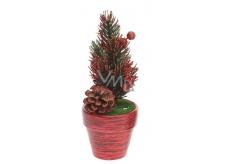 Dekorace Vánoční stromeček v květináči červený 17 x 6,5 x 6,5 cm