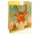 Nekupto Dárková kraftová taška 25 x 8 x 19 cm Vánoční medvěd 595 WKHM