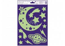 Okenní fólie plastická svíticí ve tmě měsíc, hvězdy 20 x 30 cm