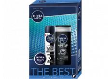Nivea Men The Best Active Clean sprchový gel 250 ml + Black & White Original antiperspirant sprej 150 ml + Men krém 30 ml, kosmetická sada pro muže
